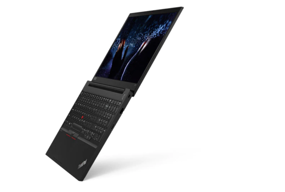 A ThinkPad E15 opened and stood on the edge of its keyboard, revealing the backlit keyboard and 15.6-inch FHD display